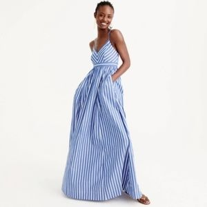 J.Crew Spaghetti Strap Maxi Dress Stripe FIRM $